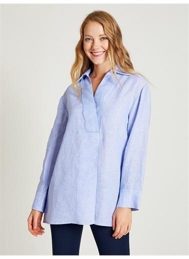Vekem-Limited Edition Uzun Kollu Pamuklu Bluz Mavi